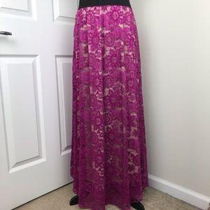 LuLaRoe Lucy Lace Maxi Skirt EUC